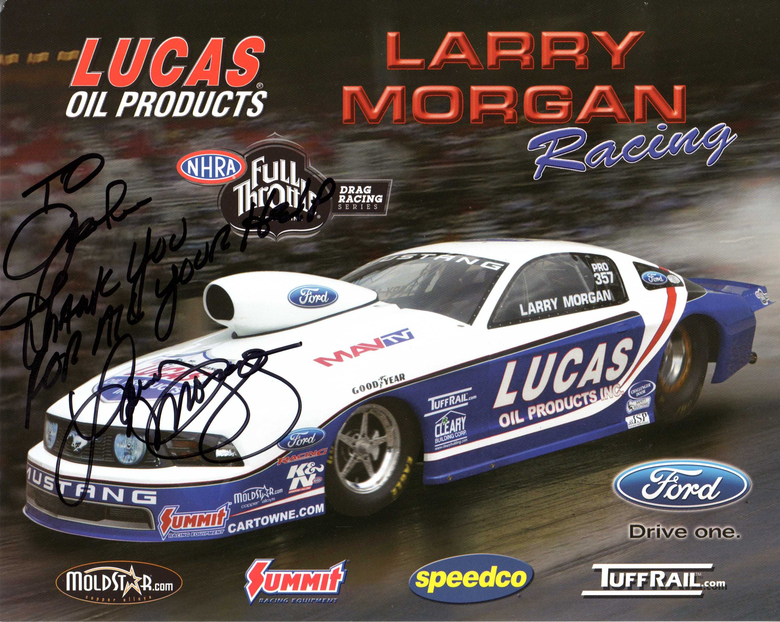 A Special Thanks from Larry Morgan!